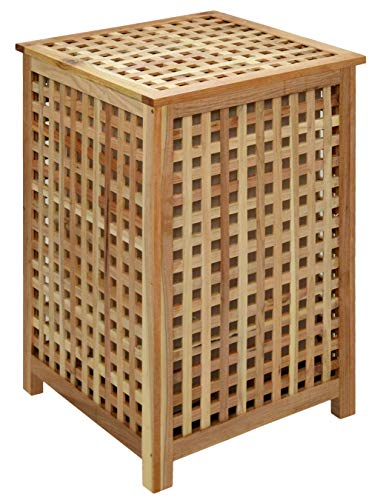 Cestop de ropa sucia de madera con tapa