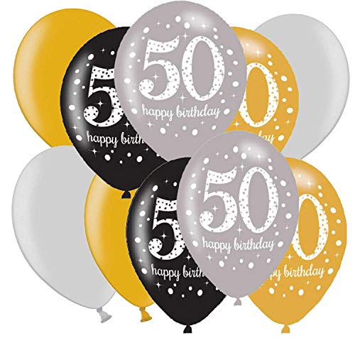 Libetui 10 Starke eleganten Luftballons Deko zum 50. Geburtstag Party Deko Luftballons Nummer 50 Gold Silber metallic 50. Geburtstag