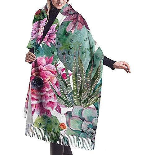 Elaine-Shop Cactus Suculenta flor roja Bonsai Print Bufanda de cachemira para mujer Casual Bufanda cálida Bufanda Chal grande