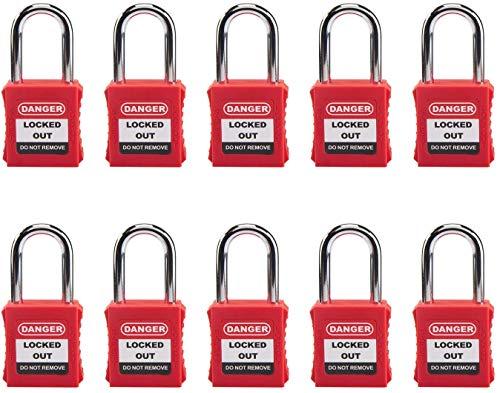 HOLULO 10pack Candado de seguridad, Cerraduras de bloqueo y etiquetado, Clave diferente,Rojo