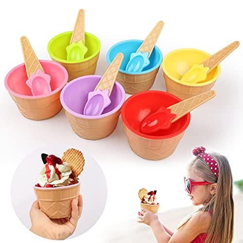 Yisscen Cuenco Helado Colores de Plástico,6 Piezas Vaso para Helado con Cuchara Precioso Cuenco de Postre,Reutilizable Bowl Helado para Niños,Familia Tazas de Yogur,Helado de Bricolaje