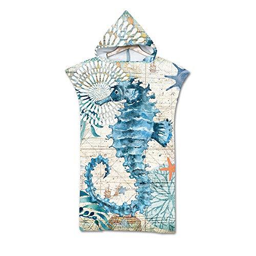 Treer Badeponcho Strand Poncho Strandtücher Handtuch Poncho mit Kapuze Schnelltrockend Bade Bademantel Baseball Badetuch Duschtücher Für Umziehhilfe Beim Wassersport (75x110cm,Seepferdchen)
