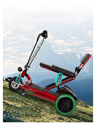 FHKBK Scooter de Movilidad de 3 Ruedas - Scooters de Ayuda a la Movilidad Ligeros y motorizados - Scooter eléctrico Plegable para Viajes, Adultos, Ancianos - Batería de Larga duración co