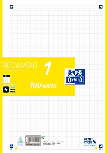 Hojas cuadriculadas A4 Recambio Oxford. Banda color Lima. 100 Hojas. Cuadrícula 5x5., 400106621