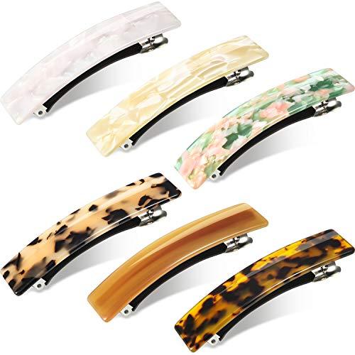 6 Stücke Tortoise Shell Zellulose Acetat Haarspange für Frauen Damen, Französisch Design Rechteckige Automatische Haarspange Acryl Pferdeschwanz-Halter Spangen für mittlere und Dickes Haar