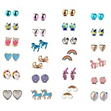 Aganippe 24 Pairs Hypoallergenic Girls Kids Stud Earring Set Unicorn Heart Mermaid Scales Rainbow Pearls Owl Rhinestone Cute Mixed Color Stainless Steel Stud Earring Nickel Free (E0847)