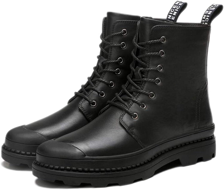 Martin Boots Mens Adult Boots Classic Boots Classic Leather Autumn Winter High-top shoes Leather Men's shoes Plus Velvet,Black-45