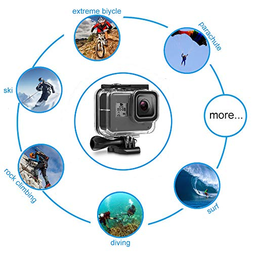 F1TP Waterproof Housing Case for GoPro Hero 8 Black 60M / 196FT Underwater Protective Diving Case Shell with Release Mount Accessories for Go Pro Hero8 Action Camera.