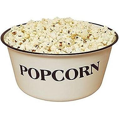 Enamelware Popcorn Bowl 4 3/4  tall and 9 3/4  in diameter 4 Quart