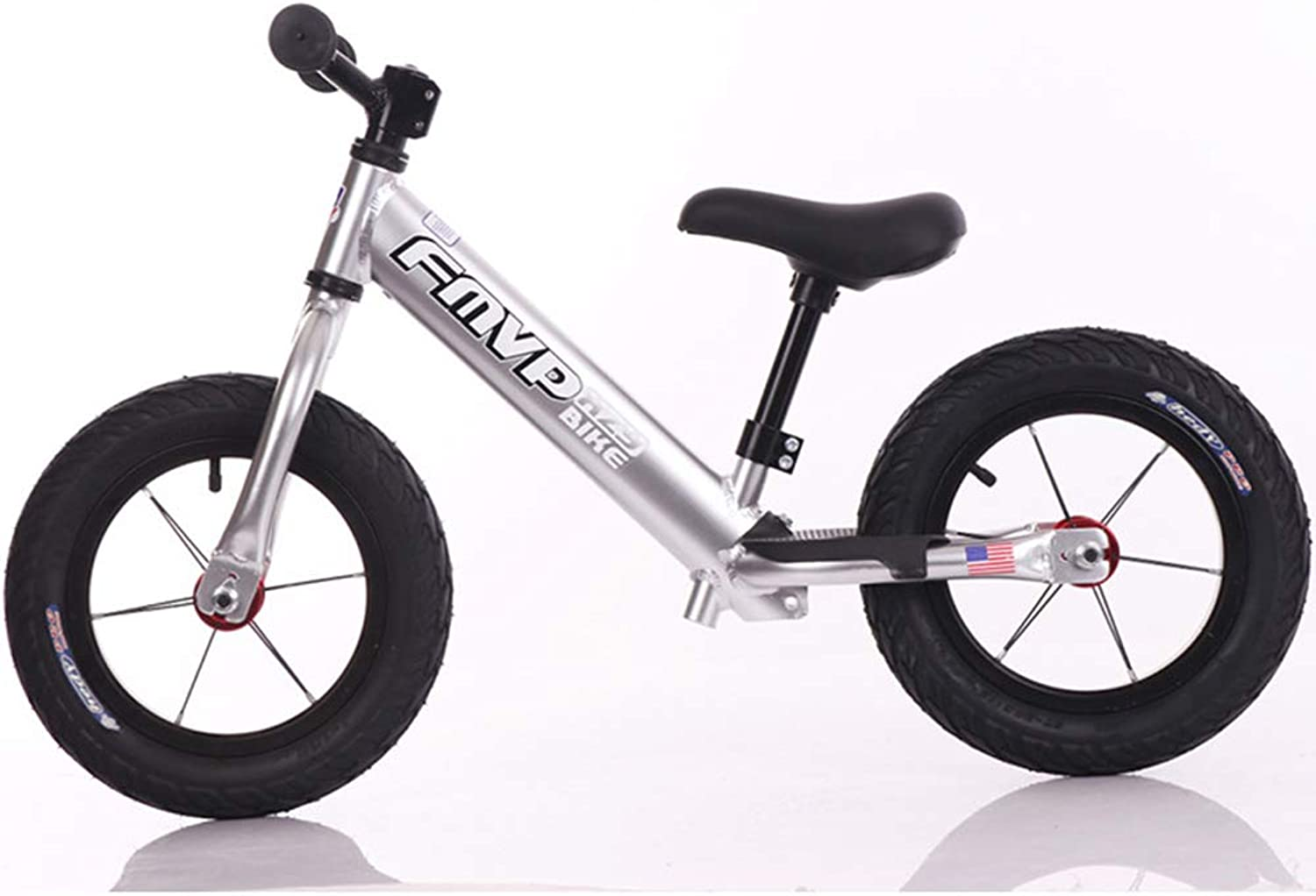 Balance Bike, with Airless Rubberskin Tires No Pedal Sport Training Bicycle Adjustable Handlebar and Seat Lightweight