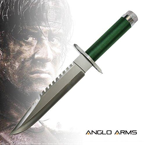 Deluxe Outdoormesser Jagdmesser im Stil 'Rambo I' (K-SUR-1) mit Lederhülle und Gürtelhalter.