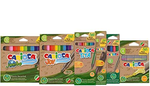 Carioca - Juego de colores Eco Family   Kit de colores para niños con 12 lápices de colores, 6 lápices de dibujo HB, 24 rotuladores, 4 bolígrafos y juego marcadores, en plástico reciclado, 50 unidades