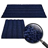 RYB HOME Non-Slip Bathroom Rugs - Quick Drying Chenile Bath Mat for Tub Thick Shaggy Floor Cover Water Absorbent Shower Carpet for Toilet Door Way Kitchen, Navy Blue, 47' x 24' + 20' x 32', 2 Pc