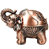 Vintage Decorative Windproof Ashtray with Lid for Cigarettes Metal Portable Cigar Ashtray Odor Indoor Outdoor Hand Carved Stand Lucky Elephant Fancy Gift Ornament for Men Women (Red Copper-Stand Ele)