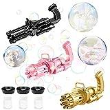 Gatling Bubble Gun,Automatic Bubble Machine,2021 New Cool Toys Gift for Kids, Bubble Maker Machine, Electric Bubble Gun,Bubble Machine Toy for Kids & Toddlers (Gold/Pink/Black)