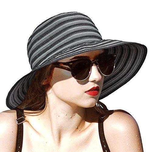 Solaris Frauen Sonnenhut Faltbarer Strohhut Floppy Sommerhüte mit breiter Krempe zum Angeln Gartenarbeit Wandern Safari Beach Schwarz