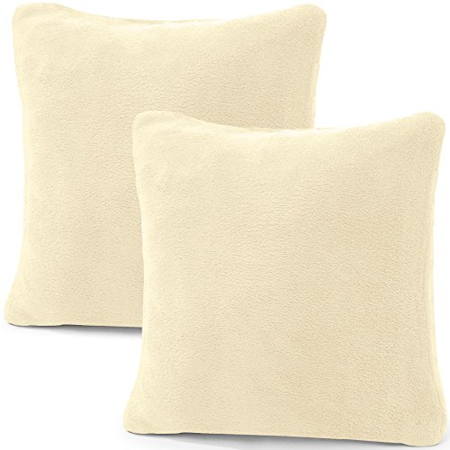 CelinaTex 2er Set Kissenbezug 40x40 cm Doppelpack Coral Fleece Kissenhülle, Dekokissen Bezug Sofakissenbezug Comfortable Creme weiß 5001314