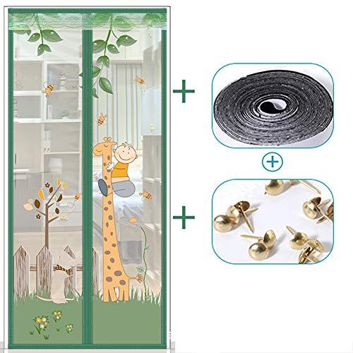 Magnetische hordeur, insecten Muggenhor Scherm sluit automatisch Eenvoudige lijmmontage zonder boren, ideaal voor balkondeur Woonkamer Kelderdeur Patio deur (120 * 210cm),Green,90 * 200cm