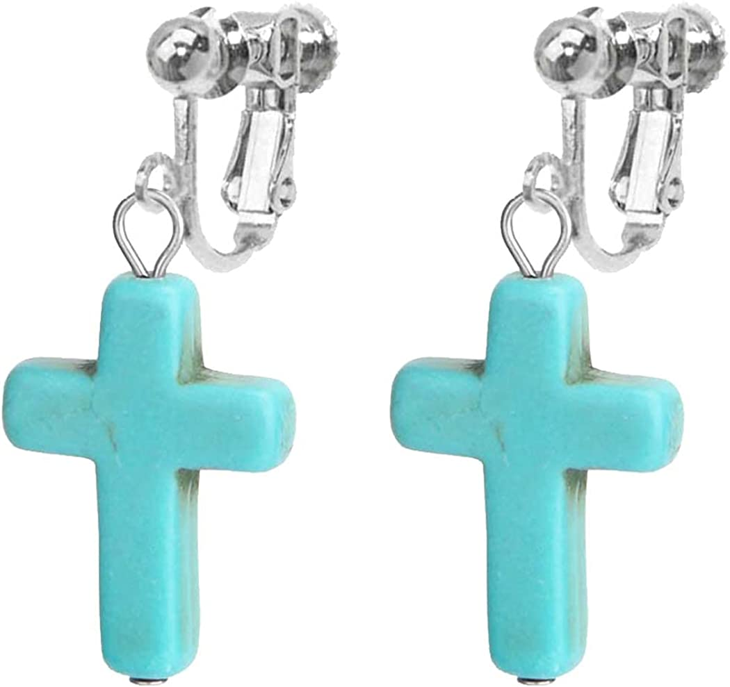 Turquoise Dangle Clip on Non Pierced Earrings for Women Girls Gifts Jewelry Vintage Texture Beaded Drop Bohemian Ethnic Style Personalized Simple Jesus Cross Pendant