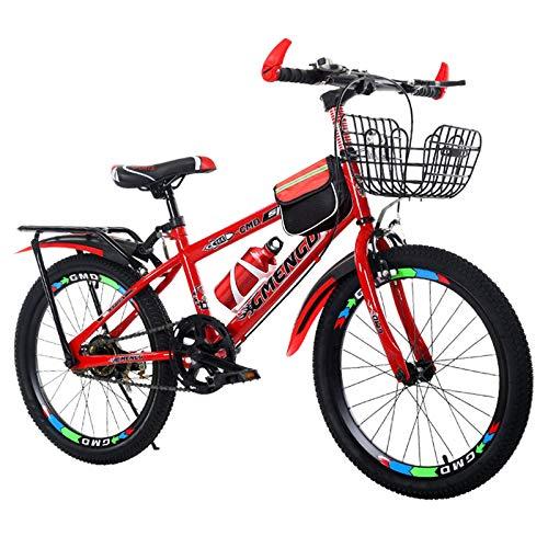 MQJ M de Acero Al Carbono Niños Bicicleta de Montaña 20 (22,24) Pulgadas Mtb Bicicletas para Hombres Mujeres, Angulos, Anteriores 10 Edades 10, Circor de Racido Altaliente,Rojo,20 en