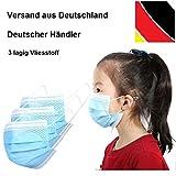 10 x Kinder Mundschutz Masken Einweg Mund Nase Gesicht 3 lagig Community Hygiene Behelfsmaske (14,2 x 9,2 cm (+/- 2 mm), blau/weiß, 10)