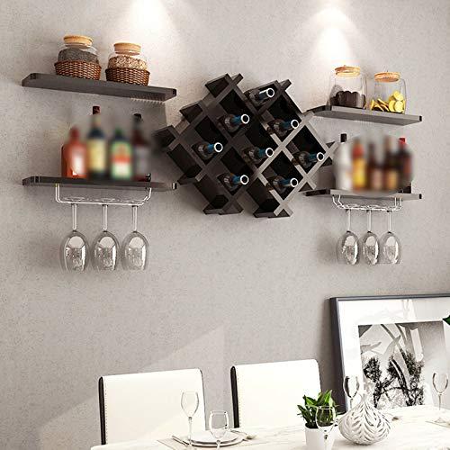 Fetcoi Soporte de pared para botellas de vino, de madera, moderno, sencillo, para pared, color negro