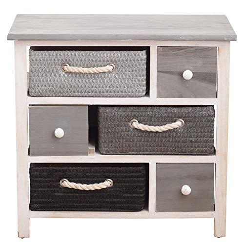 Rebecca Mobili Mehrzweckkommode mit 6 Schubladen, moderner Allzweckschrank, Holz Weidenkörbe, Weiß Grau, für Schlafzimmer Badezimmer – Maße: 53 x 56 x 27 cm (HxLxB) - Art. RE4326