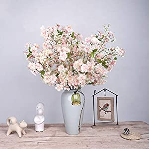 YILIYAJIA Artificial Cherry Blossom Flowers Silk Fake Flowers Branches Arrangement Centerpieces for Dinning Room Table Wedding Decoration