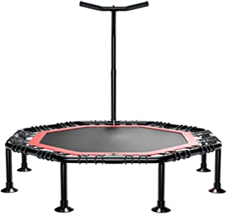 SZPZC Mini Fitness Trampoline With Adjustable T-bar Stability Handle, Foldable Exercise Trampoline for Adults or Kids, Aerobic Bouncer Trampoline for Gym/Home, Max. Load 250kg with Suction Base Bar Ch