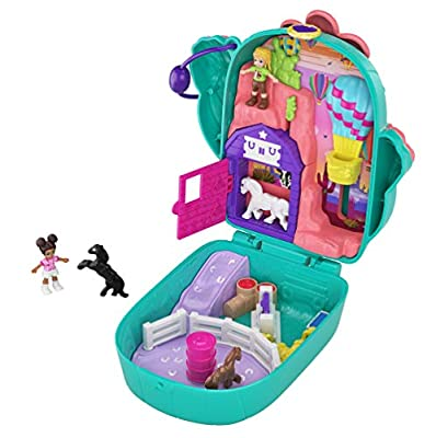 Polly Pocket Pocket World Cactus Cowgirl Ranch Compact with Fun Reveals, Micro Polly and Shani Dolls, 2 Horse Figures and Sticker Sheet; for Ages 4 and Up by Mattel