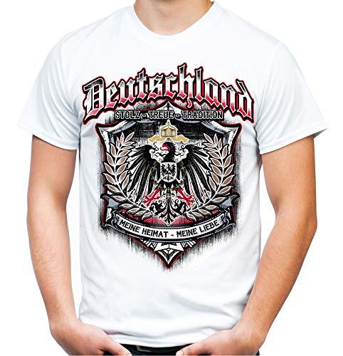 Für Immer Deutschland Männer und Herren T-Shirt | Kaiserreich Germania Preußen (XXL, Weiß)