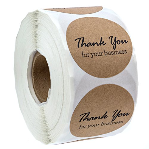"""1.5"""" Round Kraft Thank You for Your Business Stickers/500 Labels Per Roll"""