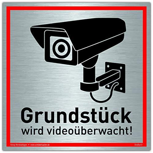 Schild Grundstück wird videoüberwacht! | Alu 20 x 20 cm | stabiles Alu Schild mit UV-Schutz | silber gebürstet edle Optik | Videoüberwachung Kameraüberwachung Kameraüberwacht | Dreifke®
