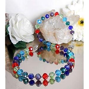 Brillant funkelndes Glasperlen Collier Halskette in bunten Farben + Edelstahl Perlen – Handarbeit ღ / A254