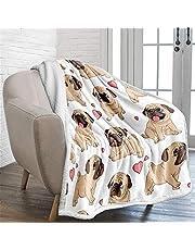 WONGS BEDDING Mops filt vändbar mops hund tryckt sherpa filt för barn barn vuxna mjuk varm mikrofiber solid filt för säng, soffa och resor 150 x 200 cm