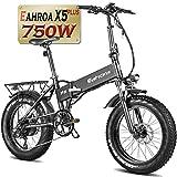 eAhora X5Plus 750W Electric Bike 20' Fat Tires Ebike with 10.4Ah Battery Folding Electric Bike Hydraulic Disc Brake Aluminum Cranksets Thumb Throotle Good for Beach Urban Commuting
