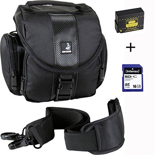 Estuche económico para fotos Bodyguard ET145 negro + batería de repuesto DMW-BLC12 + tarjeta de memoria SD de 16GB para Panasonic Lumix DMC-FZ200 DMC-FZ300 DMC-FZ1000 DMC-G5 G6 G7 G70 GH2 GX8