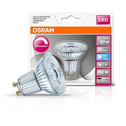 Osram LED SUPERSTAR PAR16 / Spot LED, Culot GU10, Dimmable,5.5W Equivalent 50W, Blanc Froid 4000K, Lot de 1 pièce