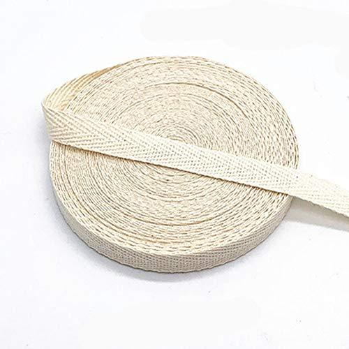 Egurs Bunt Gurtband aus Baumwolle 45m x 10mm Weich Gewebt Twill-Band Baumwollband Baumwollkordel Schrägband zum Nähen Elfenbein