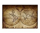Augenblicke Wandbilder 1733 Impression sur toile montée sur châssis Motif mappemonde en sépia Style vintage Taille XXL 120 x 80 cm