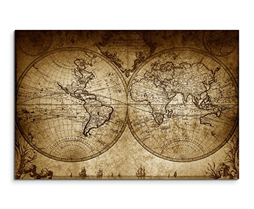 Augenblicke Wandbilder 120x80cm XXL riesige Bilder fertig gerahmt mit Keilrahmenin Sepia Vintage Weltkarte 1733