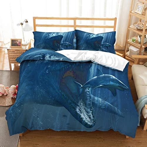 Conjunto de cubierta de edredón con la presa de 3D Snapdragon en la escena del tiburón impresión de la hoja de beding conjunto para niños adolescentes y adultos colección de camas,GBsingle140x210cm