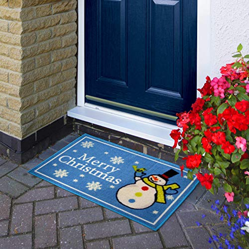 (Snowman) - Top Home Solutions Non Slip Novelty Festive Christmas Santa Snowman Floor Door Mat 40x60cm (Snowman)