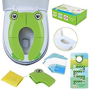 Adaptador para inodoro para niños, portátil, plegable, para viaje, almohadillas de silicona antideslizantes, apto para niños y niñas, con 10 cubiertas desechables para asiento de inodoro verde verde