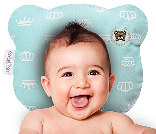 Orthopädisches Babykissen inkl. Bezug gegen Verformung & Plattkopf für Säuglinge und Kleinkinder - für eine natürliche runde Kopfform | Schadstofffrei | Bärchen – Blau