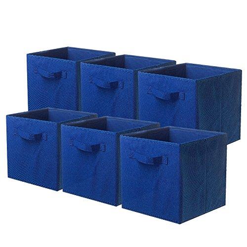 Powerking Cesta Plegable de Almacenamiento de Ropa Cubos, contenedores y cajones (Azul, 6)