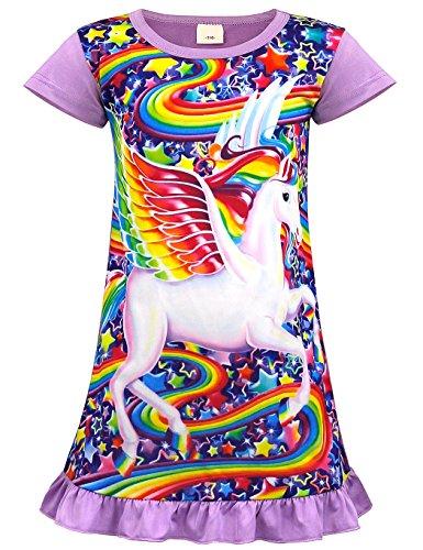 AmzBarley Einhorn Nachthemd Mädchen Kinder Einhorner Nachtkleid Regenbogen Lange/Kurze àrmel Nachtwäsche Nachthemden Nachtkleider Morgenmäntel, Lila 03, 7-8 Jahre