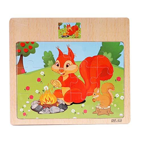Gybify 12 Piezas Puzzles de Madera Rompecabezas de Animales Dibujos Animados Juguetes con Cara Puzzles Infantiles Juegos Educativos Regalos para Niños 3 4 5 6 Años