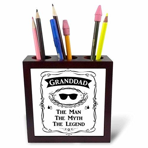 3dRose ph_232460_1 - Soporte para bolígrafo de azulejos con texto en inglés'Granddad the Man the Myth the Legend Funny Grandpa Grandfa', 12,7 cm