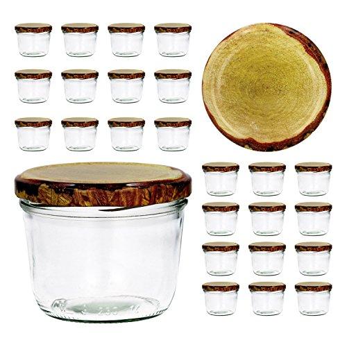 CapCro 25er Set Sturzglas 230 ml to 82 Deckel mit Holz-Dekor Marmeladenglas Einmachglas Einweckglas